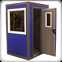 blue vocal booth, blue sound booth, blue recording booth